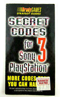 Vintage 1998 Brady Games Secret Codes 3 For Sony Playstation Strategy Guide
