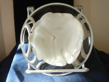 Art Glass Bowl Signed & Numbered Clear Glass & White Swirl Hand Made Heavy Pc