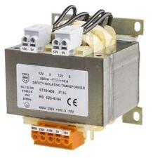 RS Pro 250VA Isolation Transformer, 15 â?? 400V ac Primary, 12V ac, 115V ac Seco