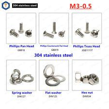 M3 304 Stainless Steel Phillips Pan Head,Sunk Head,Truss Head Screw,Nut,washer