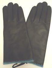 Ladies Angora/Lambswool Lined Genuine Leather Gloves,Black,Large