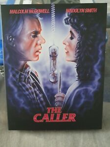 The Caller Blu-ray, with slipcover, Vinegar Syndrome, Malcolm McDowell, cult