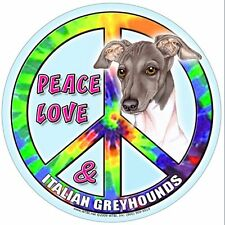 Italian Greyhound Hippie Dog Car & Fridge Magnet