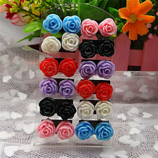 12 Pairs Rose Stud Earrings Mixed Color Flower Earrings Wholesale Jewelry Set R