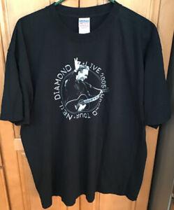 Neil Diamond Live World Tour 2005 Concert T-Shirt XL Black Cotton Gilden SS