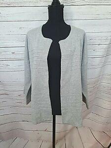 SUSSAN womens cotton blend grey open cardigan size L / XL BNWT 3/4 sleeve #327