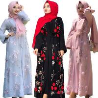 Muslim Women Abaya Open Front Flower Maxi Dress Robe Kaftan Dubai Islamic Party