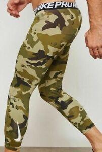 Men's Nike Dri-Fit Pro 3/4 Training Tights AQ1197-395 Olive Camo Multi Size NXT