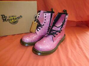 Dr. Martens Doc Women's 1460 Dark Pink Sparkly Glitter Side Zipper Boots Size 5