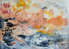 """TABLEAU ABSTRAIT À LA CIRE, peinture originale signée HZEN, """"STACCATO"""" 20x14 cm"""