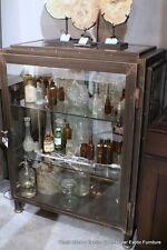 "45"" H Cabinet curio Display solid iron Black nat Finish Glass distress finish"