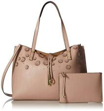 Calvin Klein Leather Reversible Sonoma Flower Appliqué Novelty Tote with Pouch