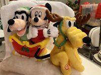 Gemmy Disney Mickey Goofy & Pluto Christmas Sleigh Decoration