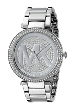 New Michael Kors Parker Silver Pave Crystal Logo Dial MK5925 Women's watch