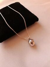 Small Silver Acorn On Fine Chain Necklace