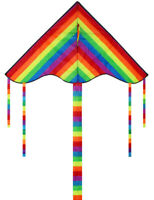 2x Rainbow Triangle Kite Outdoor Children Fun Sports Kids Toys Gift Air Fly NEW