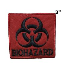 BIOHAZARD SYMBOL embroidered iron-on PATCH ZOMBIE RED new TOXIC WARNING DANGER