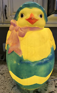 """1993 Carolina Enterprises Easter Chick Hatching from Egg Blow Mold 23"""" Tall"""