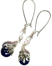 Long Silver Earrings Lapis Lazuli Gemstone & Clear Glass Tibetan Drop Dangle
