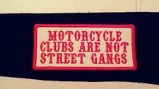 Motorcycle Clubs Are Not Street Gangs..Red & White Patch.Biker 1%er