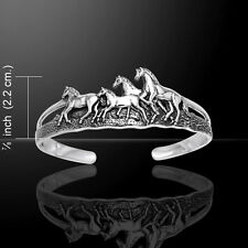 Horses Cuff  Bangle Sterling Silver Bracelet by Peter Stone Detailed Jewelry