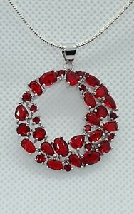 ❤JAYNES GEMS  STUNNING  5CT RUBY PENDANT  AND 22INCH  . 2MM CHAIN  925 SILVER.