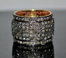 Gorgeous Vintage Style 2.67ct Pave Rose cut Diamond Silver Eternity Ring Jewelry