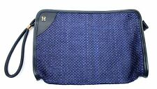 Vintage 1980s Navy Blue Woven Clutch Purse Sailor Mod Large