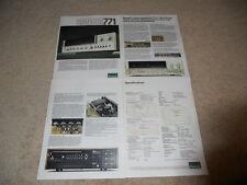Sansui 771 Receiver Brochure, 4 pg, Specs, Articles