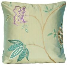 "Floral Cushion Cover Osborne & Little Embroidered Silk Fabric Taramana 16"""