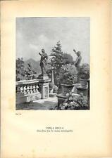 Stampa antica ISOLA BELLA statue nei giardini Lago Maggiore 1939 Antique print