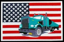 XXL Aufnäher: USA-Flagge + LKW Truck, 28x18 cm, Rücken Patch Jacke Kutte Trucker