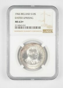 Better MS63+ 1966 Ireland 10 Scilling Silver Easter Uprising Graded NGC *734