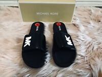 NEW WOMENS MICHAEL KORS Shoes SLIP ON SLIDES SANDALS BLACKPINK WHITE SZ 7 8 10