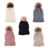 Women Ladies Winter Warm Wool Knit Crochet Fur Pom Bobble Beanie Hat Ski Cap-