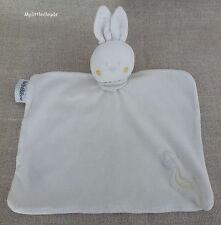 Bébé rêve***Doudou plat velours lapin blanc écru