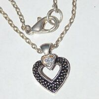 Signed Judith Jack sterling silver white clear CZ heart pendant necklace, 16""