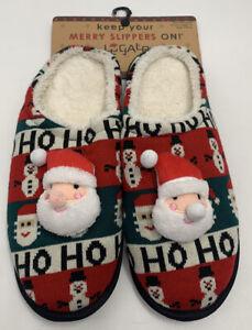 Christmas Slippers Mens Santa  hoho Red Black Size Large 11-12