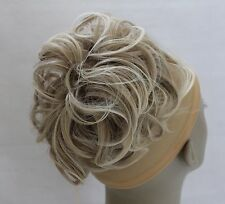 """Large Synthetic Elastic Hair Piece Updo Scrunchies Bun Extensions Wavy 7"""" Light Natural Mix Blonde #16t613"""
