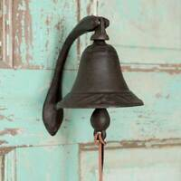 Country LOGAN DINNER BELL With BRACKET Farmhouse Primitive Rustic Cast Iron 2pc