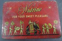 Vtg tin Box NUTRINE FOR YOUR SWEET Pleasure Adv Litho Elephant Animal PRINT