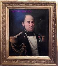 2 PORTRAITS HUILES SUR TOILE (SANS CADRE) - OFFICIER DE MARINE 1846 & sa Femme