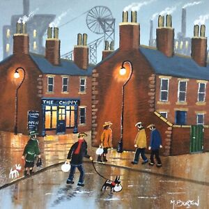 MAL.BURTON ORIGINAL OIL PAINTING. HOME WITH THE SUPPER NORTHERN ART DIRECT