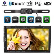 "2 Din 7"" HD Car DVD Player Bluetooth FM Radio For iPod USB/SD With Camera V6O1"