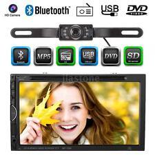 "2 Din 7"" HD Car DVD Player Bluetooth FM Radio For iPod USB/SD With Camera V6O1"