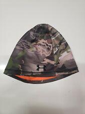 Under Armour Reversible Camo/Orange Fleece Hunting Beanie Cap Hat