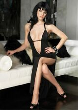 Black Long Low V Cut Dress Long Leg Avenue Clubbing Sexy M Gothic  UK 10-12