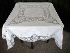 "Vintage Point De Venise Lace & Hand Embroidered Tablecloth-Linen-50""sq."