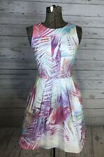 Karen Millen Sleeveless Dress Size 4 Colorful Fern Leaves Fit And Flare