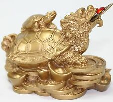 Feng Shui Dragon Turtle Gold Statue Fortune Symbol Mythical Animal Figurine Gift
